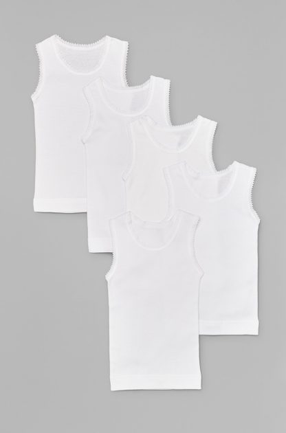 5 Pack Lace Trim Singlets