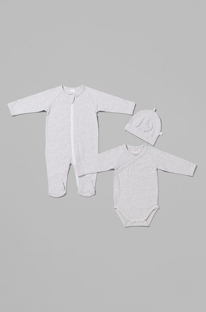 Unisex Fine Stripe 3 Pack - Zip Growsuit, Bodysuit and Beanie