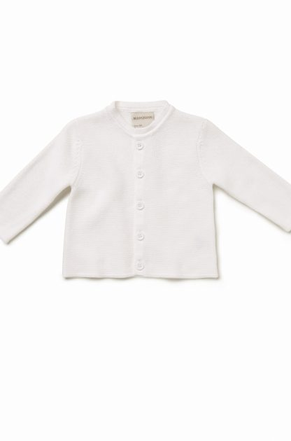 White Knitted Cotton Cardigan
