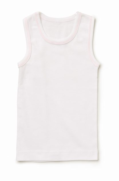2 Pack Girls White Pink Trim Singlet