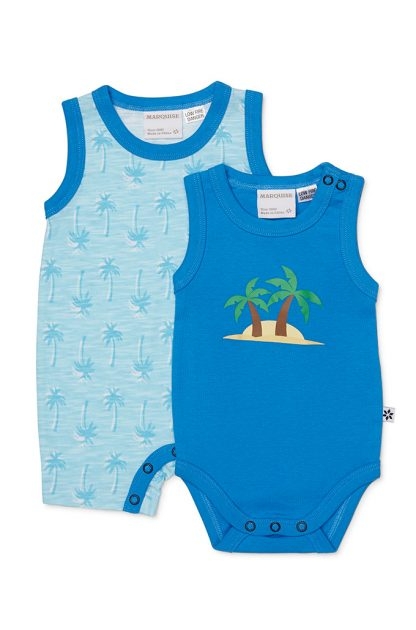 Summer Palms Romper and Bodysuit Set